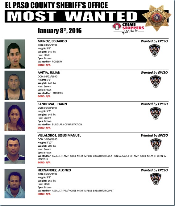MOST WANTED 01 06 2016