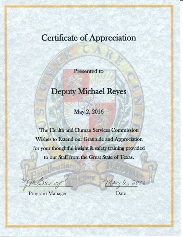 EPCSO DEPUTY RECEIVES CERTIFICATE OF APPRECIATION FROM TX DEPARTMENT ...