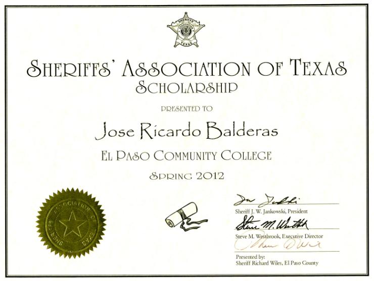 SHERIFF RICHARD D. WILES PRESENTS SCHOLARSHIP TO EPCC STUDENT ...